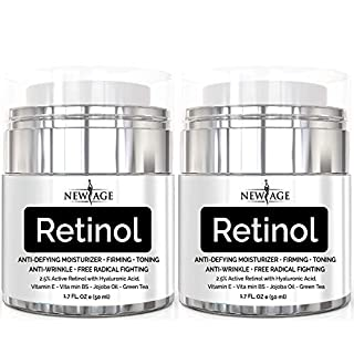 (2 Pack) New Age Retinol Cream Moisturizer Serum with Hyaluronic Acid, Vitamin E - Anti Aging Formula Reduces Wrinkles, Fine Lines-Day and Night Cream 1.7 Fl Oz