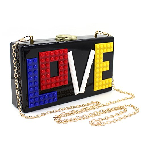 Love Acrylic Clutch Evening Bag Purse Handbag for Women Ladies Ideal Gift (Black) by IBELLA