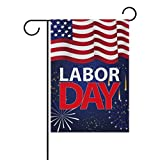 Chen Miranda Labor Day Double-Sided Polyester House Home Flag Banner for Party Home Outdoor Decor 28x40 inch