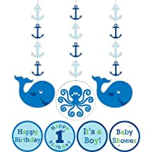 Creative Converting Ocean Preppy Boy Birthday Hanging Decorations with Stickers, 3-Piece