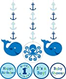 3-Piece Hanging Decorations with Stickers, Ocean Preppy Boy Birthday