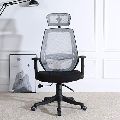 BERLMAN Modern High Back Office Chair Executive Chair with Adjustable Armrest Headrest Home Office Chair Desk Chair Task Chair Computer Chair Swivel Chair (Grey)