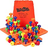 BleuZoo Jumbo Peg Board Set + Activity Guide - Montessori Sorting Toys for Toddlers | Fine Motor Skills, STEM, Autism, Therapy, Colors, Building - Preschool Activities | 60 Pegs, 3 Boards & Bag