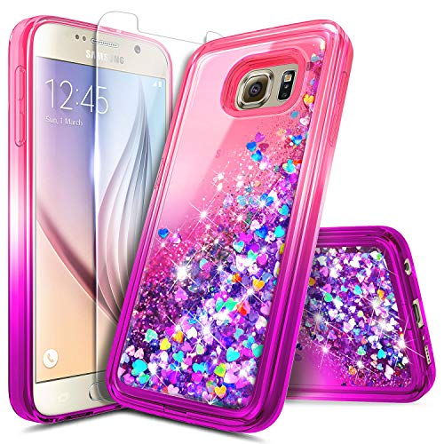 Galaxy S6 Edge Plus Case w/[Full Coverage Screen Protector Premium Clear], NageBee Glitter Liquid Quicksand Waterfall Flowing Sparkle Bling Girls Cute Case for Samsung Galaxy S6 Edge Plus -Pink/Purple