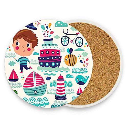Summer boy Blue Ships bee Bicycle Lighthouse Whale Absorbent Coaster For Drinks Ceramic Thirsty Stone With Cork Back Fit Big Cup, No Holder Parck 1