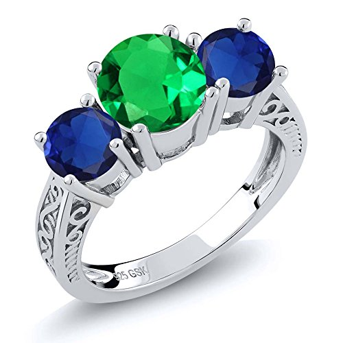 2.42 Ct Green Simulated Emerald Blue Simulated Sapphire 925 Sterling Silver 3-Stone Ring (Size (Emerald Cut Yellow Sapphire)