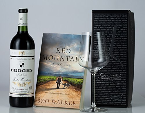 Hedges Family Estate The Lone Reader Gift Set with 1 etched Gabriel Glas glass (finest stemware on earth) and Red Mountain, A Novel, 1 X 750 mL