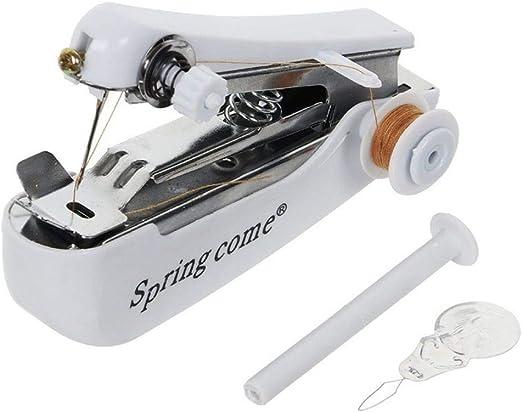 Yalatan Mini máquina de coser, máquina de coser manual portátil, pequeña máquina de coser doméstica al aire libre para tela, ropa, seda, lana, cuero, dobladillo, manualidades: Amazon.es: Hogar