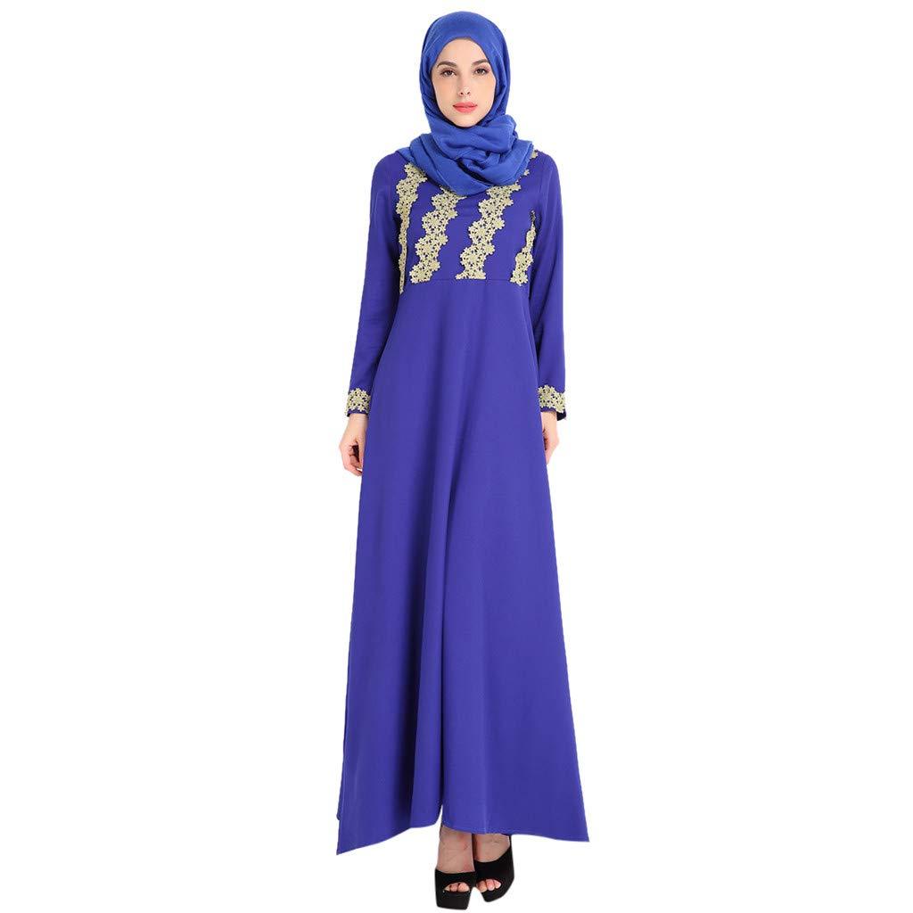 1f90a4f644 Amazon.com: Women's Long Sleeve Print Embroidery Elegant Maxi Dress ...