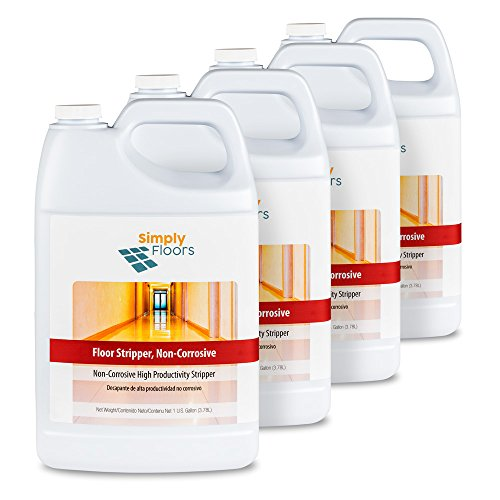 Simply Floors FLC-00032 Non Corrosive Floor Stripper - [Pack of 4 - 1 gallon bottles] 11.5-12.5 pH, Aggressive, Super concentrated,  Premium floor stripper finish no neutralizer needed