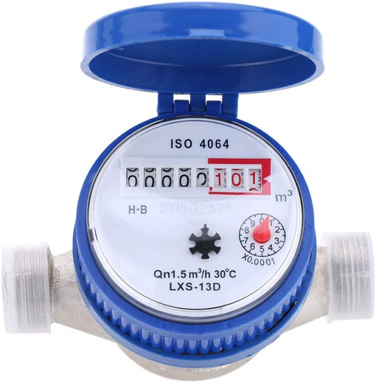 Flushzing 360 Degree Freely Adjustable Rotary 360 degree water meter Counter 15mm 1//2 inch Cold Water Measuring Meter Garden /& Home Using