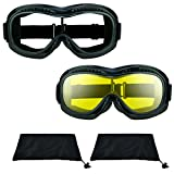 Motorcycle Riding Over glasses Goggles with Polycarbonate Smoke, Clear or Yellow Lens for Men and Women with XXLarge Microfiber Cleaning Case Bomber Fit Over Goggles (clear + yellow Combo)