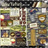 Gone Fishing 12x12 Page Kit, Lures, Fish, Bobbers,Trophies, Rod & Reels
