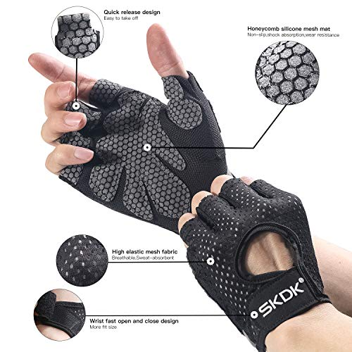 Fingerless Gloves Breathable Workout Exercise Gloves Fitness Gloves Mitten , Shock-Absorbing Foam Pad Palm,Man/Women Gym Gloves for Fitness,Bodybuilding,Cycling Crossfit Exercise Gloves (Black, XL)