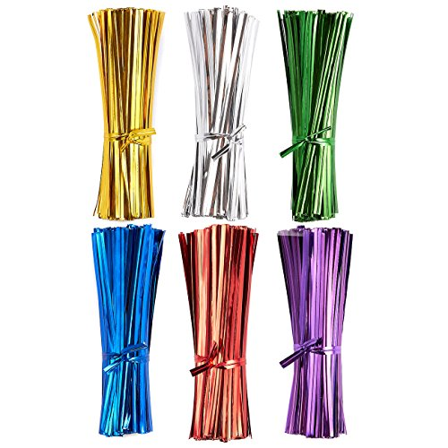 - Twist Ties – 2400-Piece Metallic Twist Ties for Birthday Party Goodie Bags, Wedding Treat Gift Bags, Gold, Silver, Green, Blue, Red, Purple, 3.8 x 0.12 Inches