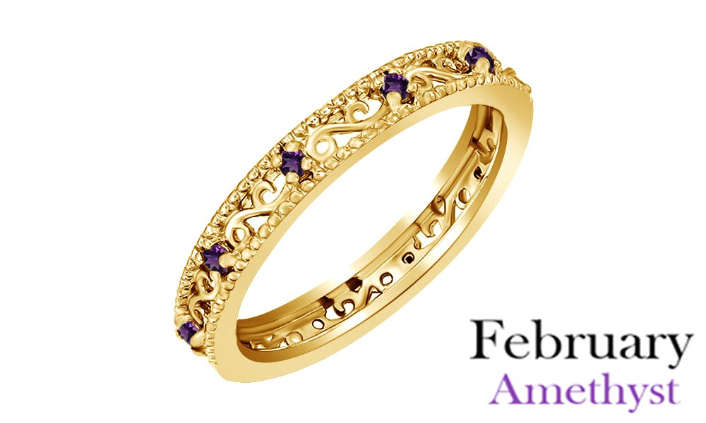 Jewel Zone US Round Cut Purple Simulated Amethyst Stackable Ring In 14K Yellow Gold Over Sterling Silver