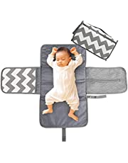 LEADSTAR Bärbar blöjbytesmatta, blöjbytesdyna med huvudkudde fickor, vattentät hopfällbar spädbarn baby skötbädd kit för hem resor utomhus