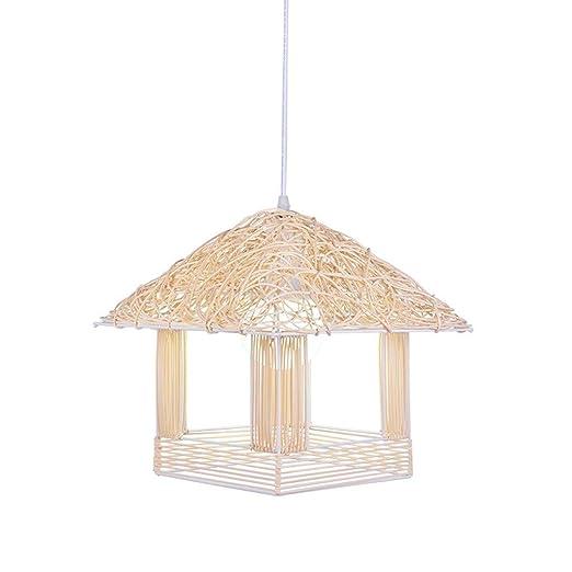 IENPAJNEPQN Ratán araña pequeña cabaña de iluminación Creativa de ...