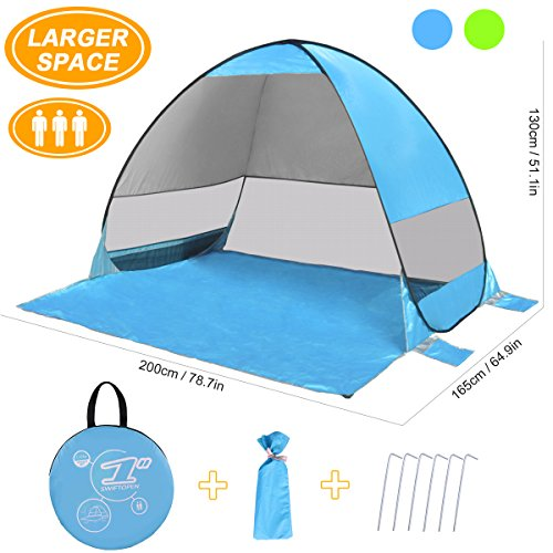 (SLB Pop Up Beach Tent, Sun Shelter Shade Easy Up Portable Anti UV Cabana Beach Umbrella for Outdoor 3 or 4 Person)