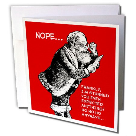 Funny Santa Design Not on the Christmas List No Present - Greeting Card, 6 x 6 inches, single (gc_223304_5) Christmas List Designs