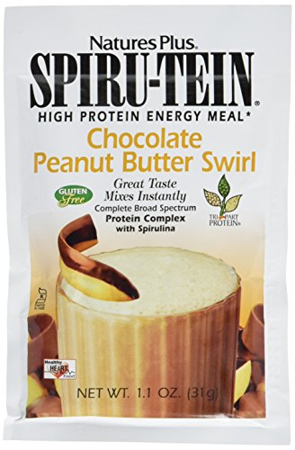 Butter Swirl Chocolate Peanut (Natures Plus Spirutein Shake (8 Pack) - Chocolate Peanut Butter Swirl Flavor - 1.1 oz, Spirulina Protein Powder - Plant Based Meal Replacement - Vegetarian, Gluten Free - 8 Total Servings)