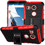 TARKAN Hard Armor Hybrid Rubber Bumper Flip Stand Rugged Back Case Cover For LG Google Nexus 5X 2015 (Red)