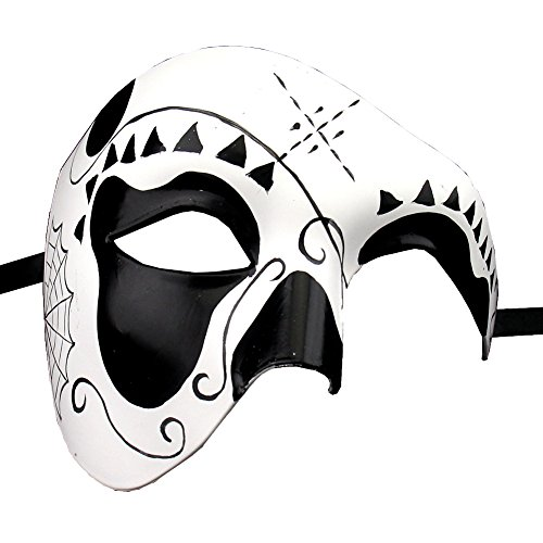 Xvevina Day Of The Dead Mask Mexican Costume Masquerade Mask for Masquerade Ball / Party / Dia de los Muertos Vail/ Friday Kahlo (black)