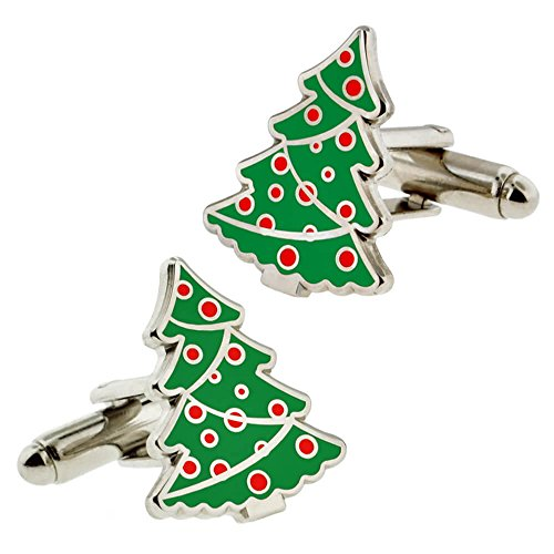 Christmas Tree Cufflinks - PinMart Festive Christmas Tree Cuff Link Set