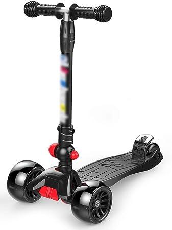 Scooter Scooter Infantil 3-12 años Scooter de 3 Ruedas Altura Ajustable Plegable Ensamblar Rueda Ancha Niño Niña Bebé Un pie (Color : Black): Amazon.es: Hogar