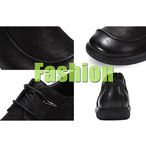 Chaussures en Cuir Dermis Hommes Saisons Comfort Soft Fashion Casual Chaussures De Conduite Black arn3Y