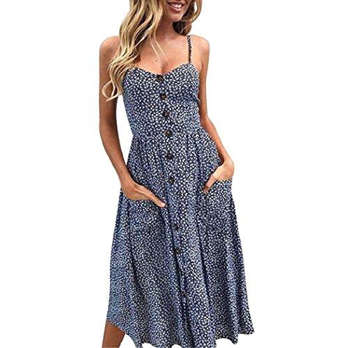 ShenPr Women Sling Dot Printing Buttons Off Shoulder Sleeveless Slim Waist Pocket Princess Dress (Navy Blue, XL) (Sequin Pleated Skirt White)
