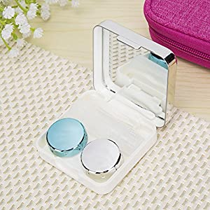 VAMIX Mini Travel Simple Contact Lens Case Box Container Holder Eye Care Kit Set With Mirror (Silver)