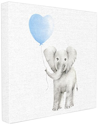 (Stupell Industries Baby Elephant Blue Balloon Linen Look Stretched Canvas Wall Art, Proudly Made in USA)