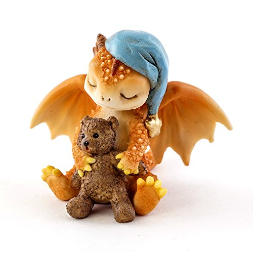 Top Collection Solar The Red Dragon - Good Night Teddy Bear, 2.5-Inch Cute Magic Dragon Statue, Mini Collectible Fantasy Figurine