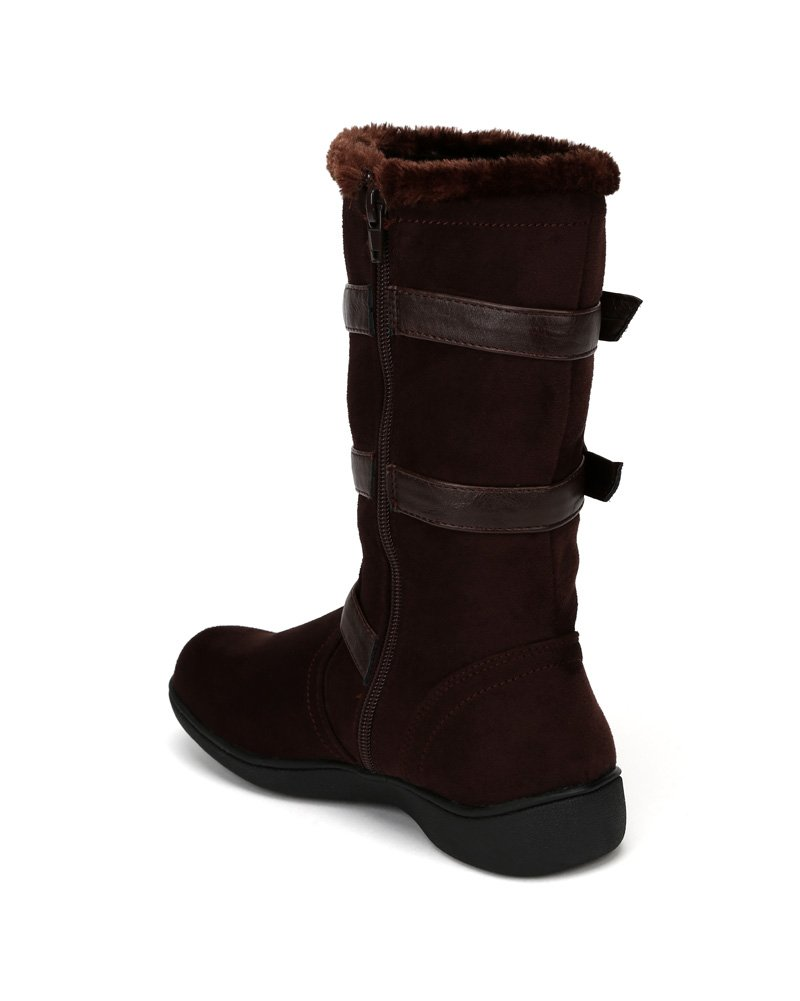 Little Angel Winter-722E Suede Fur Accent Buckle Strap Riding Boot (Little Girl/Big Girl) AF22 - Brown (Size: Little Kid 11) by Little Angel (Image #2)