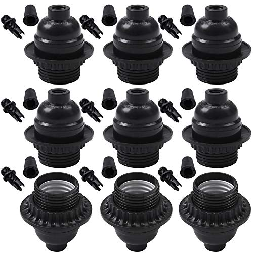Ruisita 9 Pack E26/ E27 Light Sockets Period Style Edison Retro Lamp Holder E26 E27 Medium Screw Light Socket with Cable Glands, Maximum Wattage 250W Heat Resistant Up to 200℃ (9)