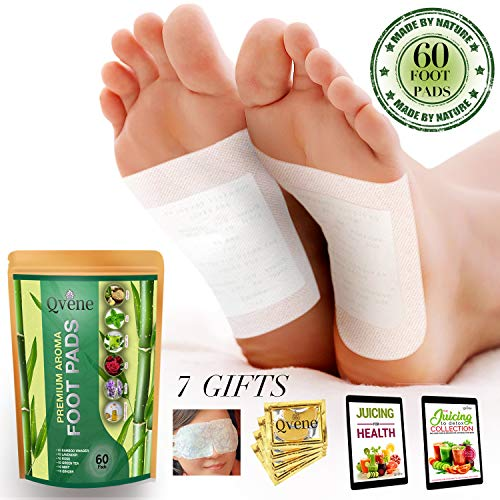 Qvene (60pcs) Premium Aromatherapy Body Cleanse Foot Pads - Natural Sleeping Aid, Stress Relief, Pain Relief, Organic Pads for Foot Care - 60 Pads, plus Bonus Products (Pads Kinoki Eye)