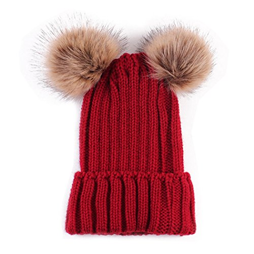 MIOIM Mother Child Hat Womens Baby Winter Knitted Beanies Fur Double Pompom Ski Cap