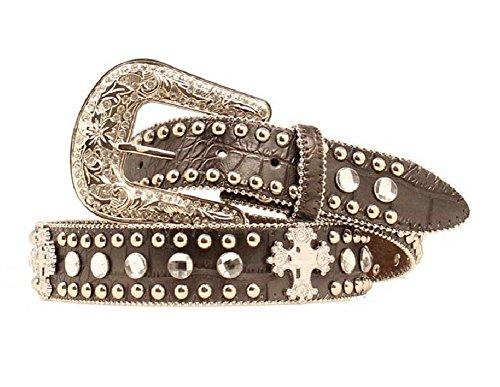 Blazin Roxx Women's Croc Print Cross Conchos Belt, Black, M ()