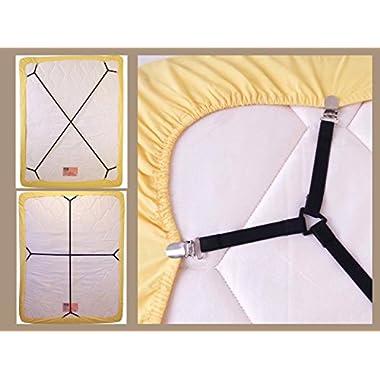 Bed Suspender Crisscross 2 Ways-Adjustable Long Gripper/Strap/Holder/Fastener for Your Bed. (Set of 2). (Black)