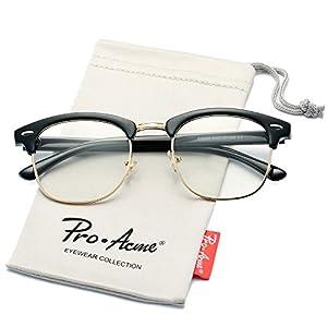Pro Acme Retro Clubmaster Clear Lens Glasses Classic Vintage Unisex Eyeglasses