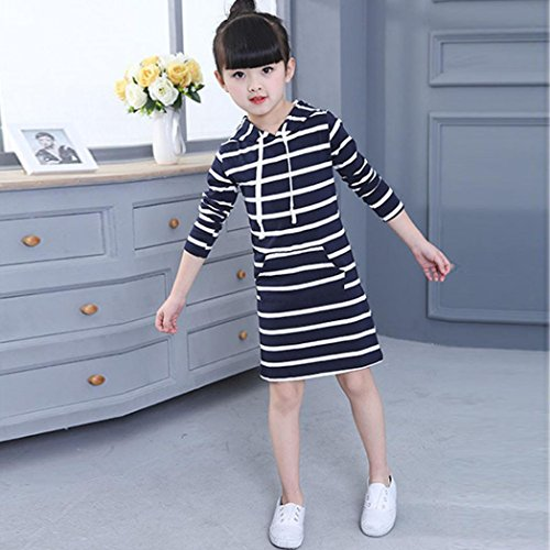Gotd Girls Autumn Dresses Hooded Striped Long Sleeve Casual Clothes Kids Pocket Pack Dress 2T-6T (5T(4-5Years), Navy)