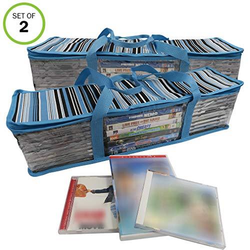 - Evelots CD/DVD Storage Bag-2 in 1-Hold 48 CDs & 16 DVDs Total-Blue Stripes-Set/2