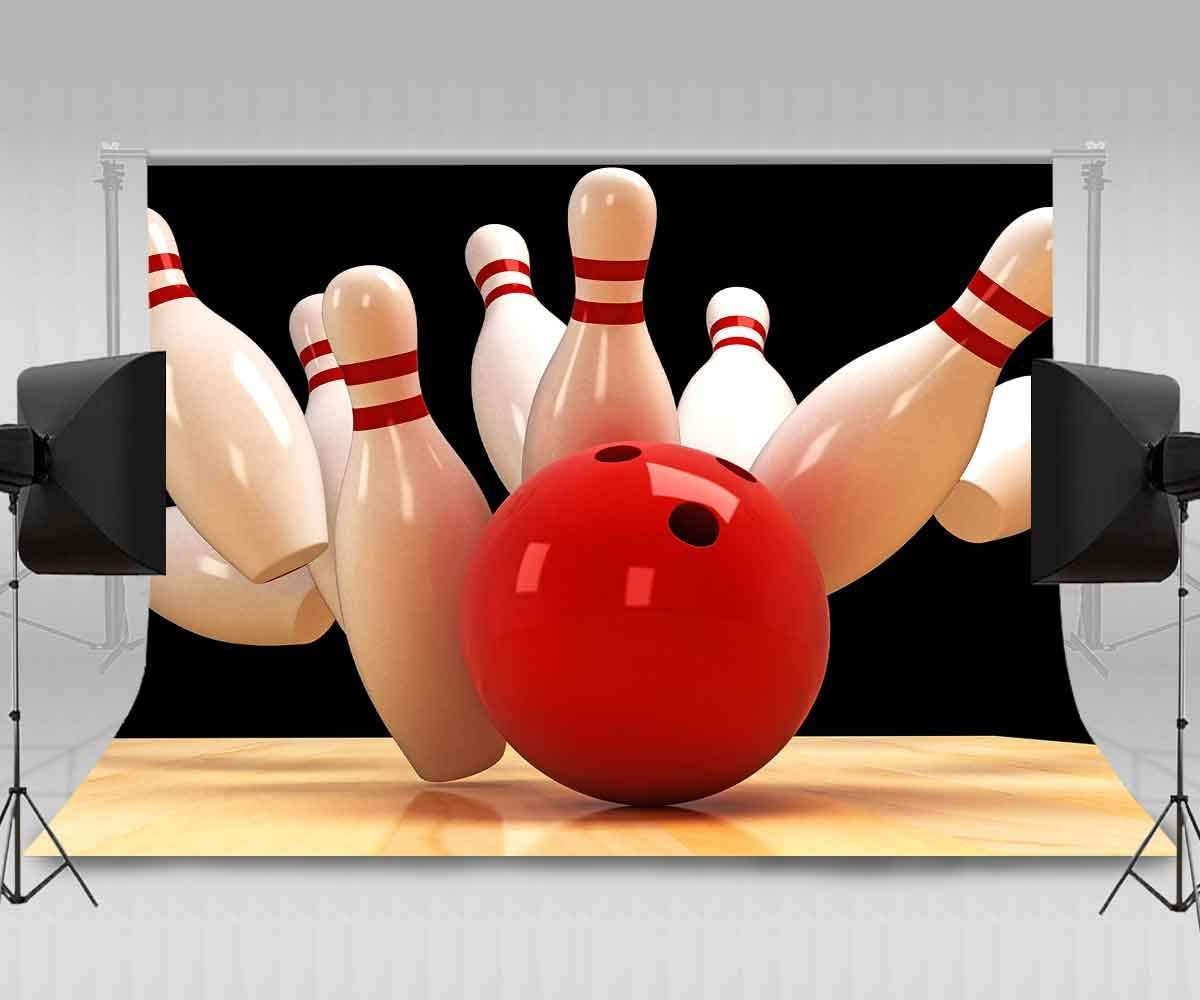 8x12 FT Bowling Party Vinyl Photography Backdrop,Bowling Shoes Pins and Ball in Artistic Grunge Style Print Background for Photo Backdrop Baby Newborn Photo Studio Props