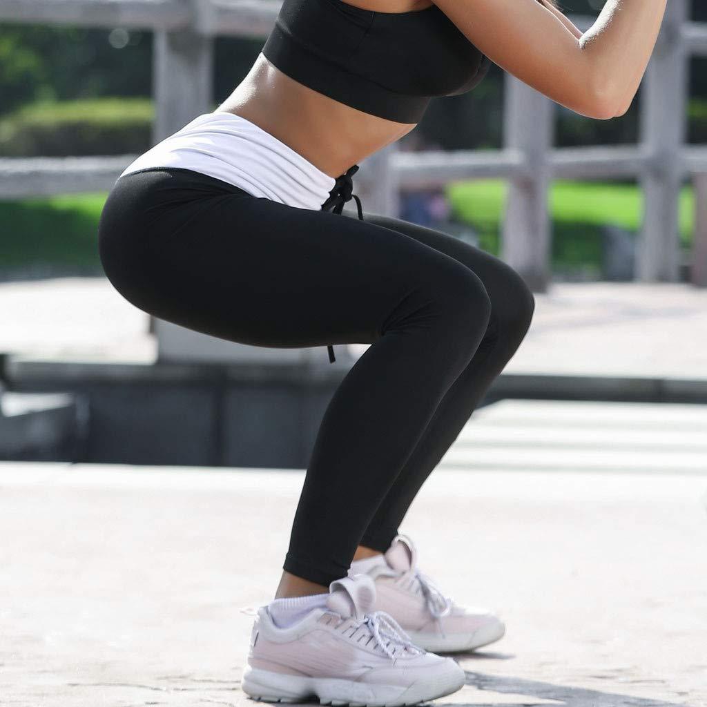 Hellosay Women High Waist Yoga Solid Wing Print Legging Running Sports Pants