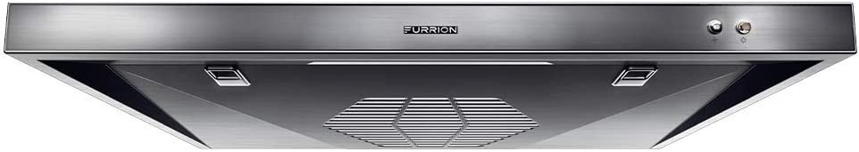 Furrion 12V RV Under-Cabinet Ducted Range Hood with Replaceable Charcoal Filter, LED Light, Exhaust Fan, VibrationSmart Technology & CSA Certification (Stainless Steel) - FHO23SACR-SS