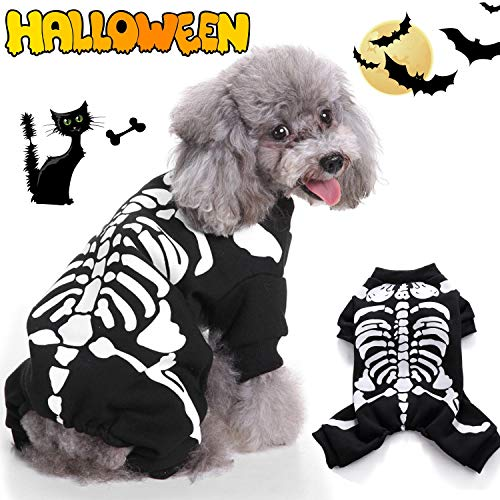 Russell Brand Costume For Halloween (AirFresh Halloween Skeleton Dog Costume Party Pet Dog Costume Clothes Cosplay, Pet Halloween Christmas Cosplay for Teddy/Pug/Chihuahua/Shih Tzu/Yorkshire)