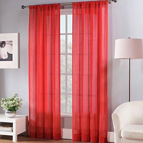 Fiesta Poly Sheer Window Curtain Panel, 50 x 84, Scarlet Red