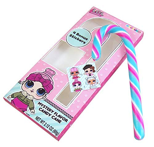 L.O.L. SURPRISE!  Mystery Flavor Jumbo Candy Cane + 4 Bonus Stickers, 2.12oz