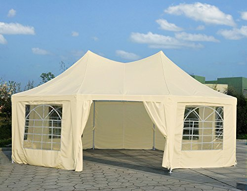 Peaktop 13'x26'/16'x32'/20'x26'/20'x32'/29'x21'/22'x16' Party Wedding Tent Canopy Gazebo Shelter Pavilion Heavy Duty Outdoor Octangle/decagonal Multiple Choices (Beige, 16WX22L)